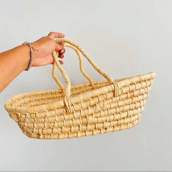 Wicker Rattan baby carrier basket tan cream